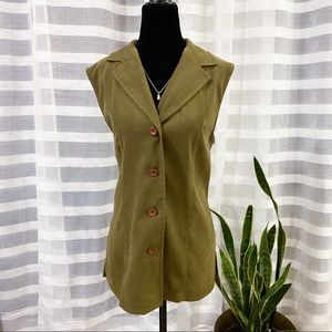 (3/$25) Leigh Morgan Womens Green Button Up Vest